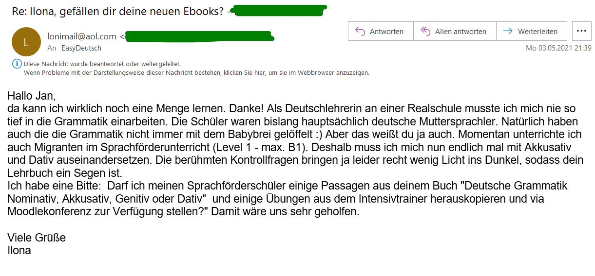 Kundenmeinung Email 2 Ilona