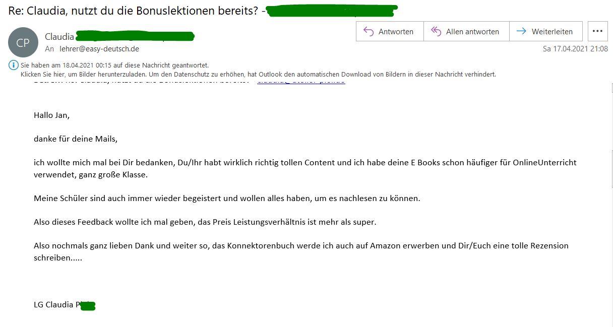 Kundenmeinung Email 3 Claudia