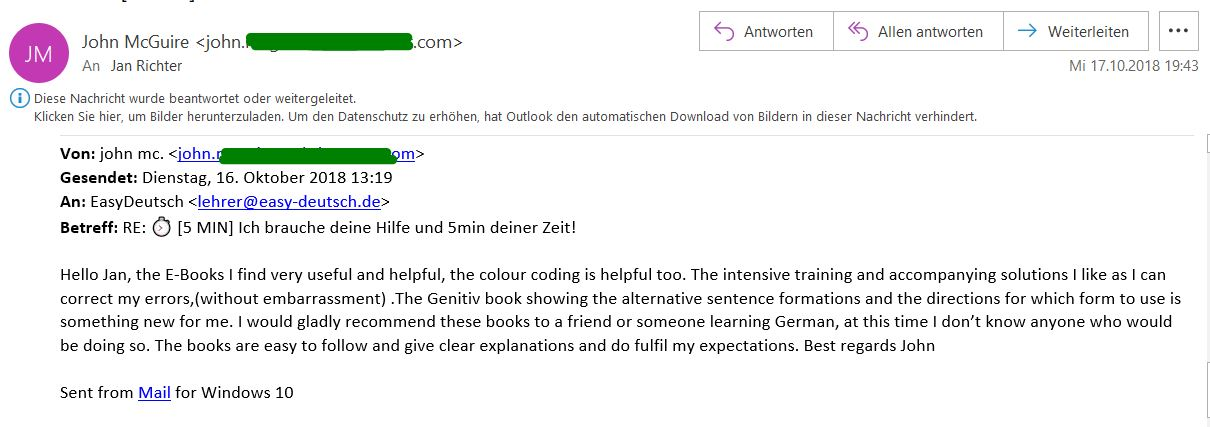 Kundenmeinung Email 5 John
